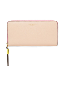 Tory Burch Woman Color-block Pebbled-leather Wallet Neutral Size 31388698
