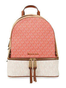 Woman Logo-print Faux Textured-leather Backpack Coral Size -- Michael Michael Kors. Купить за 13600 руб. - Backpack Color-block Logo-print Faux leather Textured Gold hardware Lo...