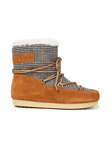 Woman Far Side Low Lace-up Checked Woven And Suede Snow Boots Camel Size 40 Moon Boot. Купить за 8300 руб. - Snow boots Prince of Wales checked Woven Suede Paneled Lace-up front R...