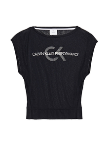 Woman Printed Slub Jersey Top Black Size XS Calvin Klein Performance. Купить за 1900 руб. - T-shirt Mélange Printed Stretch-jersey Reflective trims Cutouts Slips ...