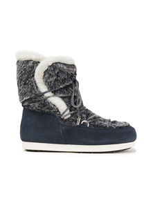 Woman Far Side High Faux Fur And Suede Snow Boots Navy Size 38 Moon Boot. Купить за 12200 руб. - Snow boots Faux fur Suede Paneled Lace-up front Round toe Pull on Line...