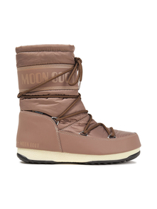 Moon Boot Woman Monogram-trimmed Lace-up Shell Snow Boots Light Brown Size 38 31404320