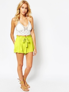Asos Tkanye Shorty S Zavyazkoy Na Talii - Lime Green 6281294