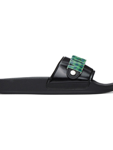 Moschino Blue And Green Checkered Logo Slides 29474606